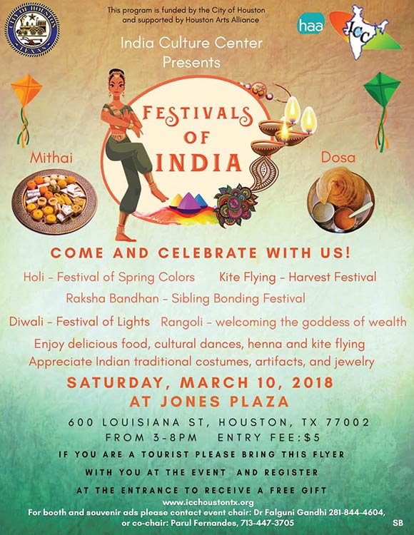 ICC Festivals of India March 10th Event